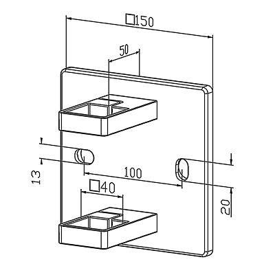 Platine de fixation modèle carré