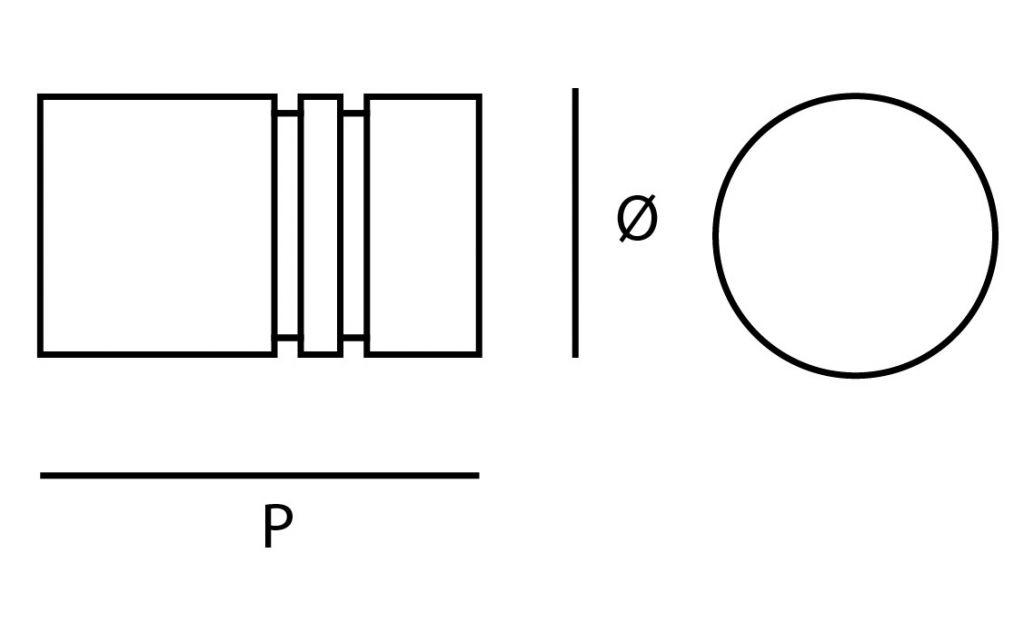 Poignée bouton ronde inox double strie