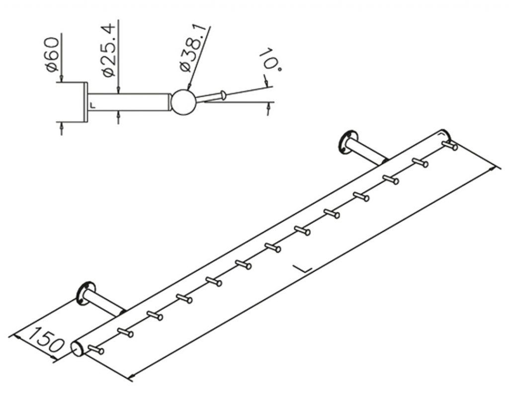 Porte-manteaux modèle 745 - Ø38.1 mm - aspect laiton poli