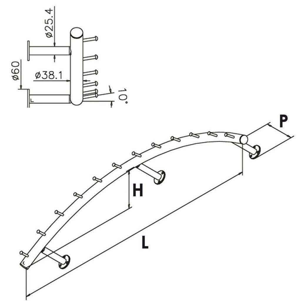 Porte-manteaux modèle 747 - Ø38.1 mm - aspect laiton poli