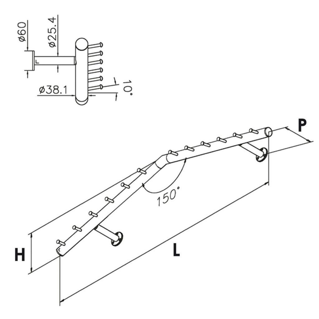 Porte-manteaux modèle 749 - Ø38.1 mm - aspect laiton poli