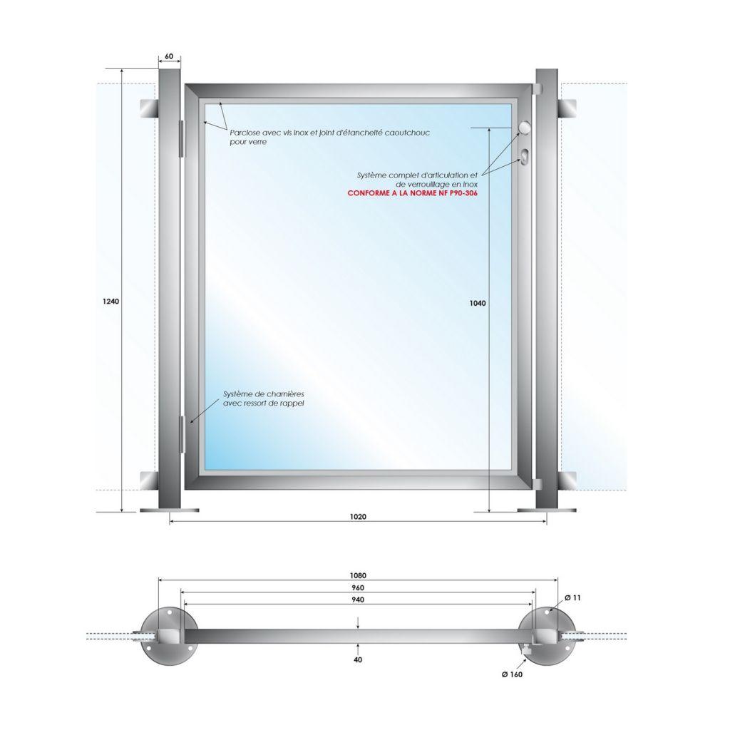 Portillon piscine - INOX 316 - Poli miroir