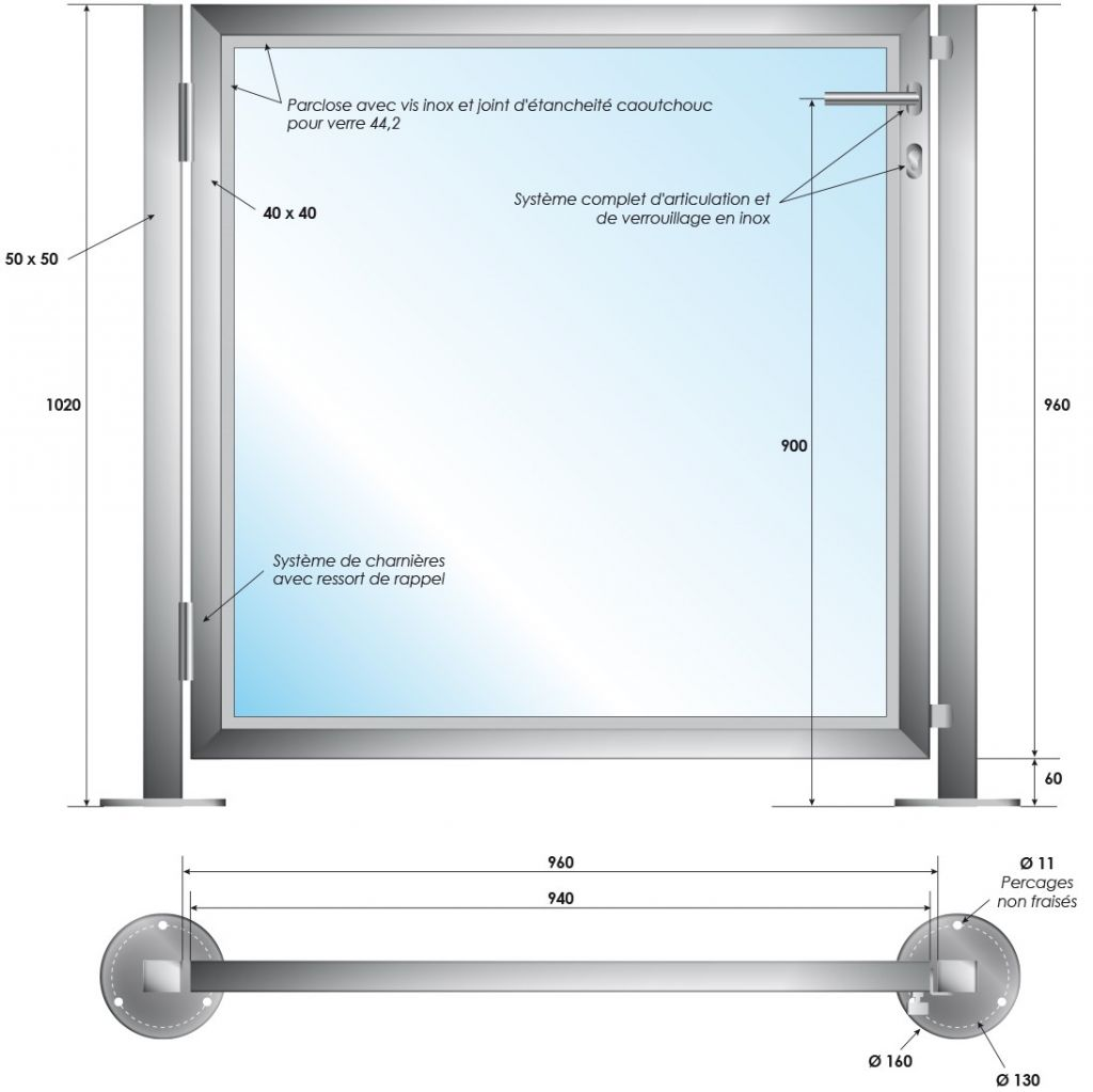 Portillon terrasse - INOX 316 - Poli miroir