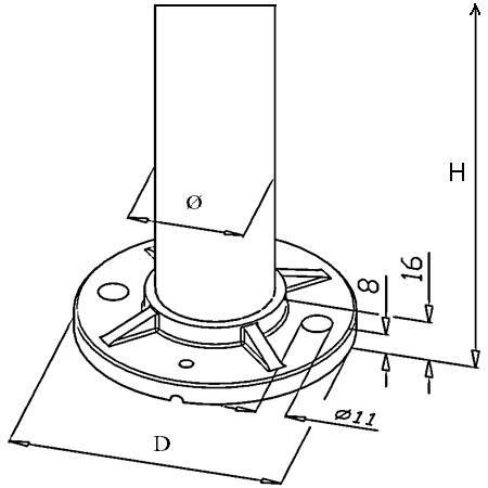 Poteau de balustrade modèle 15 - H970 mm