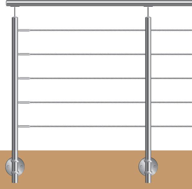 POTEAU FIXATION ANGLAISE 5 CABLES DESIGN