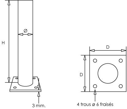 Poteau platine carrée