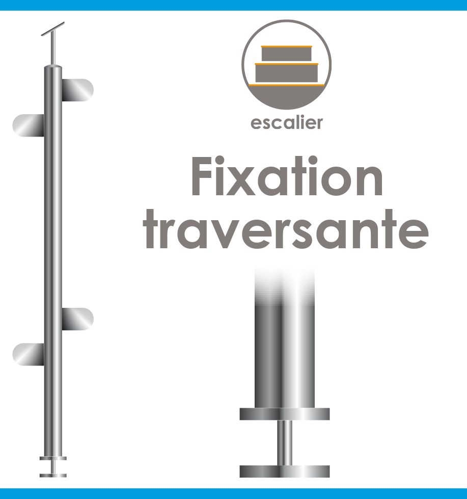 POTEAU PREMONTE - FIXATION TRAVERSANTE - Ø42,4 x 2 mm - VERRE TOTAL