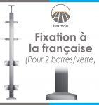 POTEAU PREMONTE CARRé 40 x 40 x 2 mm - 2 TIGES Ø12 mm + VERRE - FIXATION FRANCAISE