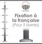 POTEAU PREMONTE CARRE 40 x 40 x 2 mm - POUR 5 TIGES Ø12 mm - FIXATION à LA FRANçAISE