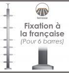 POTEAU PREMONTE CARRE 40 x 40 x 2 mm - POUR 6 TIGES Ø12 mm - FIXATION A LA FRANçAISE