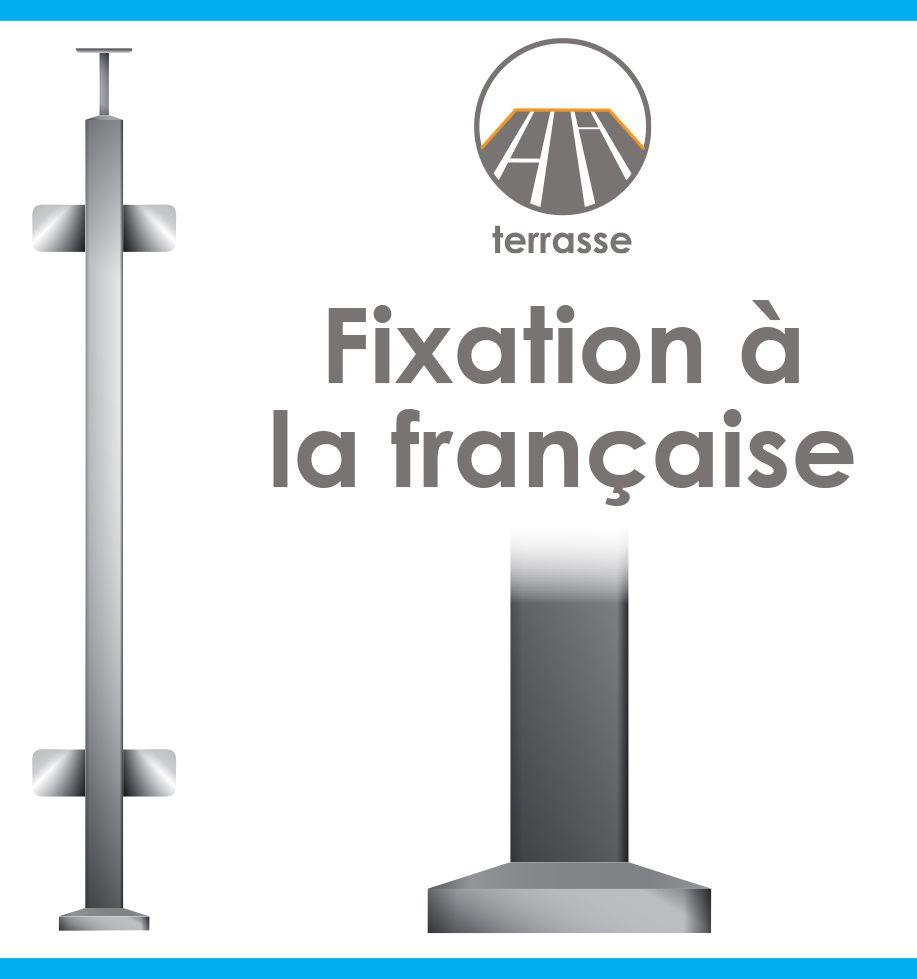 POTEAU PREMONTE CARRé 40 x 40 x 2 mm - VERRE TOTAL- FIXATION à LA FRANçAISE