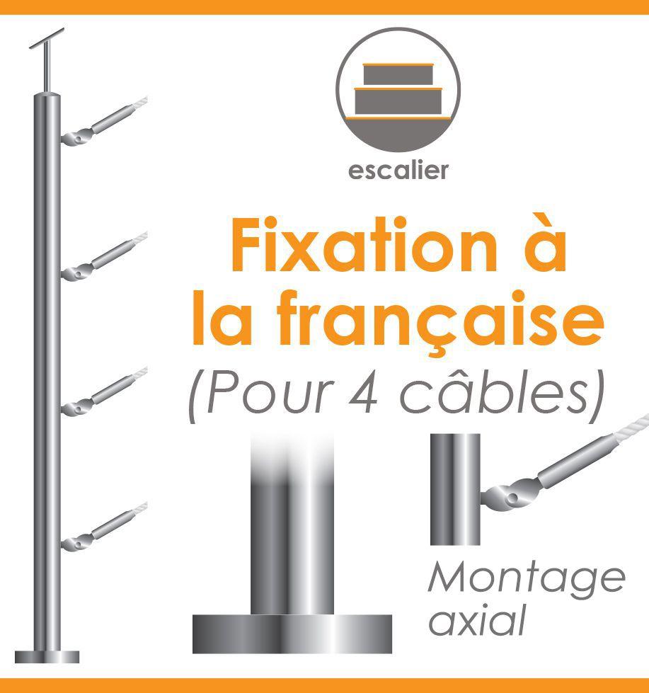 Poteau premonte 42 4 x 2 mm pour 4 cables gamme design fixation la fra - Decoration a la francaise ...