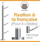 POTEAU PREMONTE Ø42,4 x 2 mm -  POUR 4 CABLES GAMME DESIGN - FIXATION à LA FRANçAISE