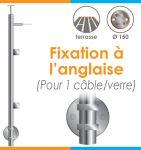 POTEAU PREMONTE Ø42,4 x 2 mm - 1 CABLE + VERRE- FIXATION à L\'ANGLAISE