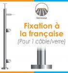 POTEAU PREMONTE Ø42,4 x 2 mm - 1 CABLE + VERRE- FIXATION à LA FRANçAISE