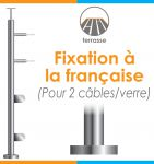 POTEAU PREMONTE Ø42,4 x 2 mm - 2 CABLES + VERRE- FIXATION à LA FRANçAISE