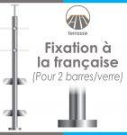 POTEAU PREMONTE Ø42,4 x 2 mm - 2 TIGES Ø12 mm + VERRE - FIXATION à LA FRANçAISE