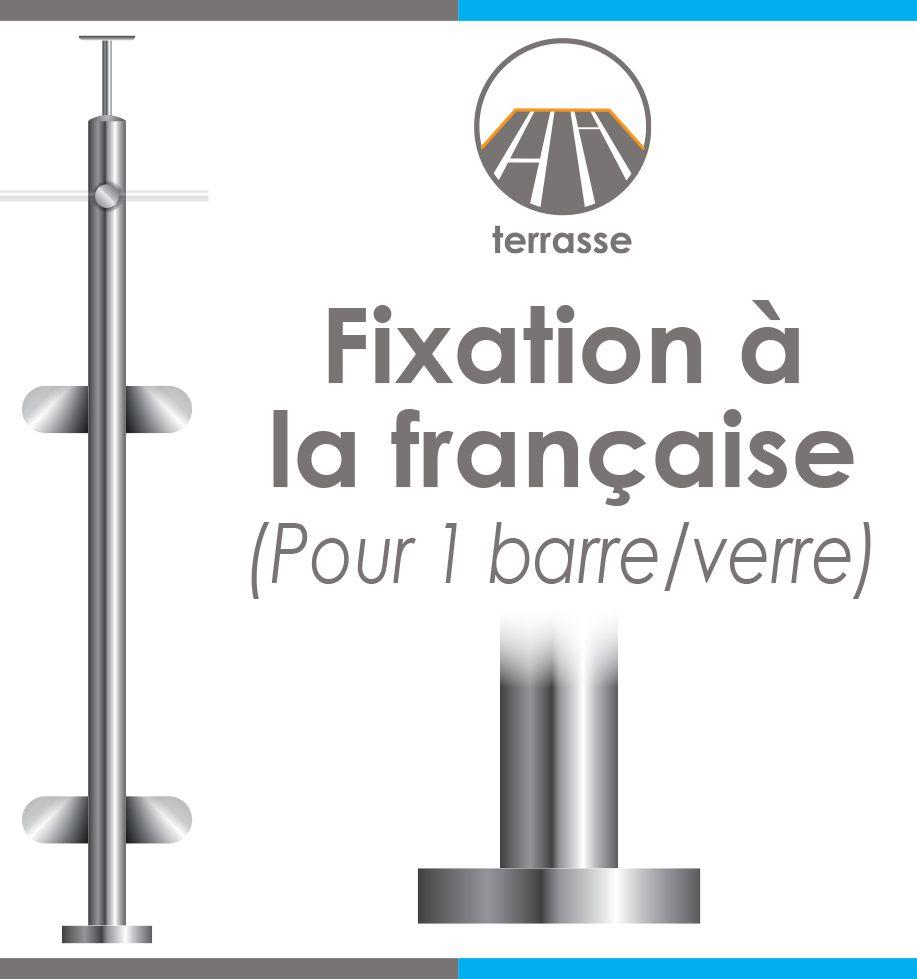 POTEAU PREMONTE Ø42,4 x 2 mm - POUR 1 TIGE Ø12 mm + VERRE - FIXATION à LA FRANçAISE