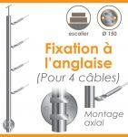 POTEAU PREMONTE Ø42,4 x 2 mm - POUR 4 CABLES GAMME DESIGN - FIXATION ANGLAISE