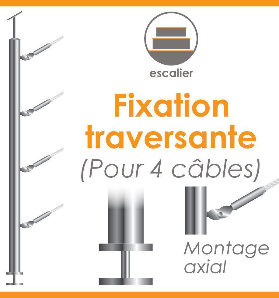 POTEAU PREMONTE Ø42,4 x 2 mm - POUR 4 CABLES GAMME DESIGN - FIXATION TRAVERSANTE