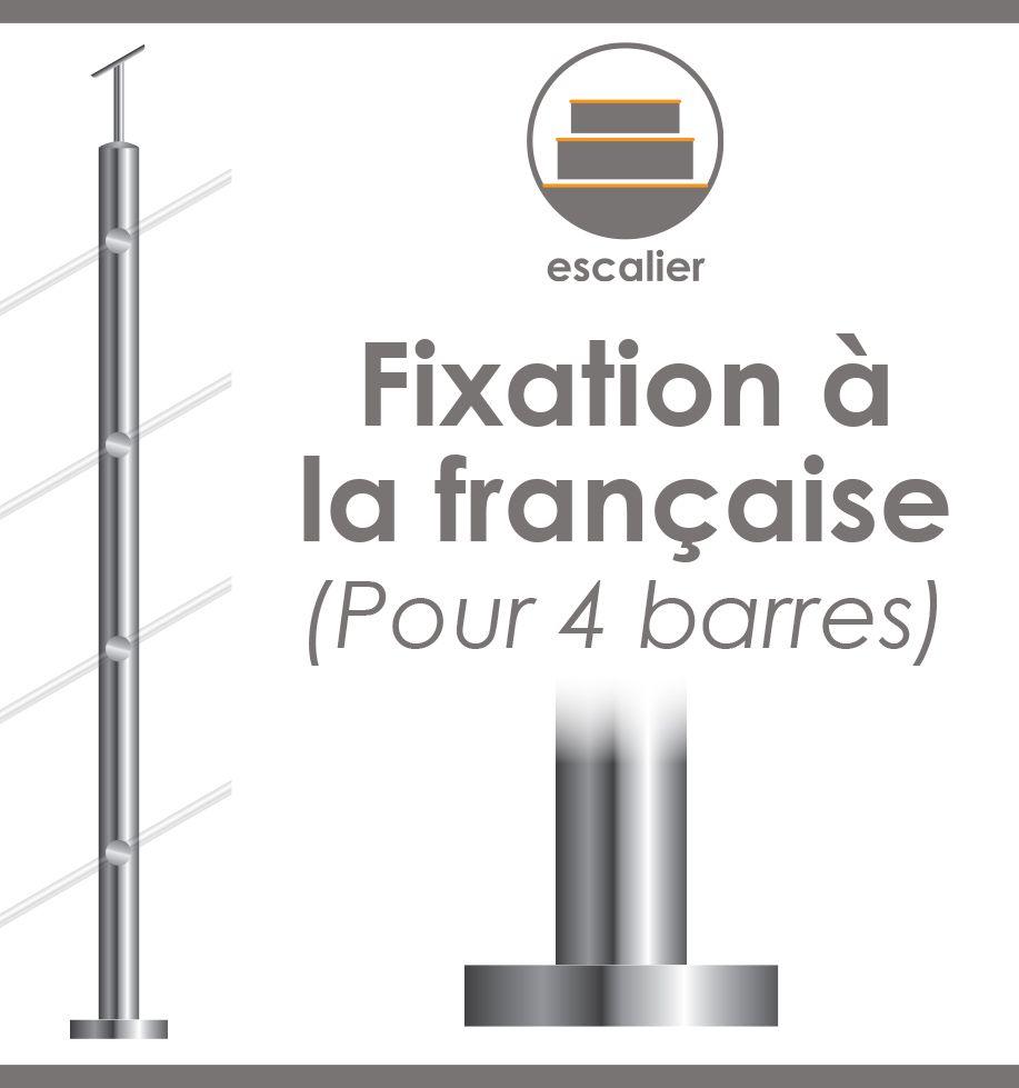POTEAU PREMONTE Ø42,4 x 2 mm - POUR 4 TIGES DE Ø12 mm - Fixation Française