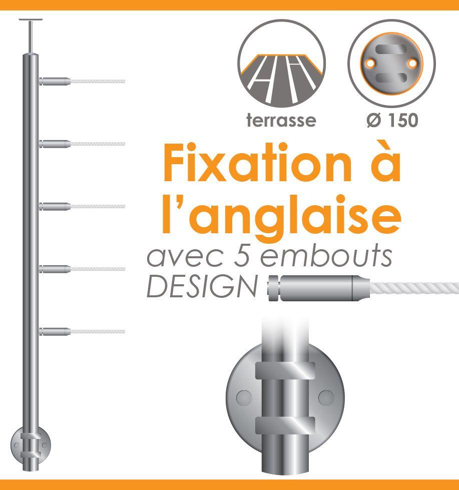 POTEAU PREMONTE Ø42,4 x 2 mm - POUR 5 CABLES DESIGN - FIXATION ANGLAISE