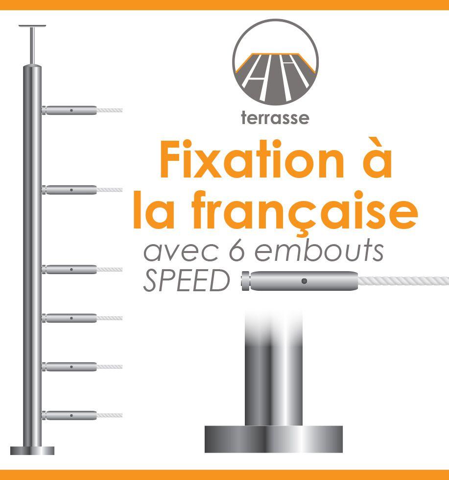 POTEAU PREMONTE Ø42,4 x 2 mm - POUR 6 CABLES SPEED - FIXATION FRANCAISE