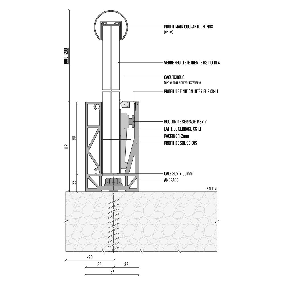PROFIL DE SOL SB-O1S - LONGUEUR 4000 mm