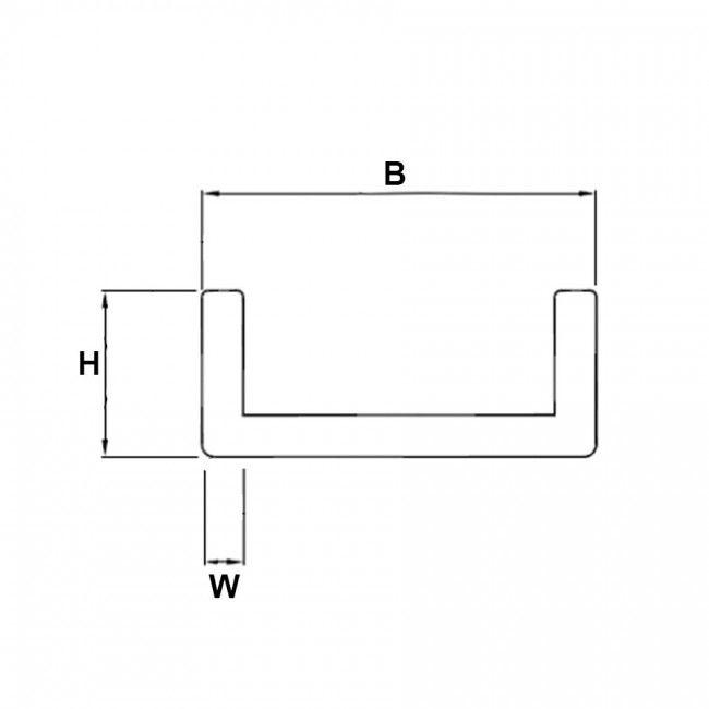 Profil U aluminium effet inox brossé plan