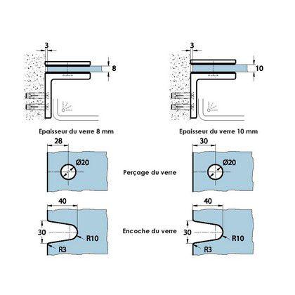 Raccord 90° verre/mur pour paroi de douche