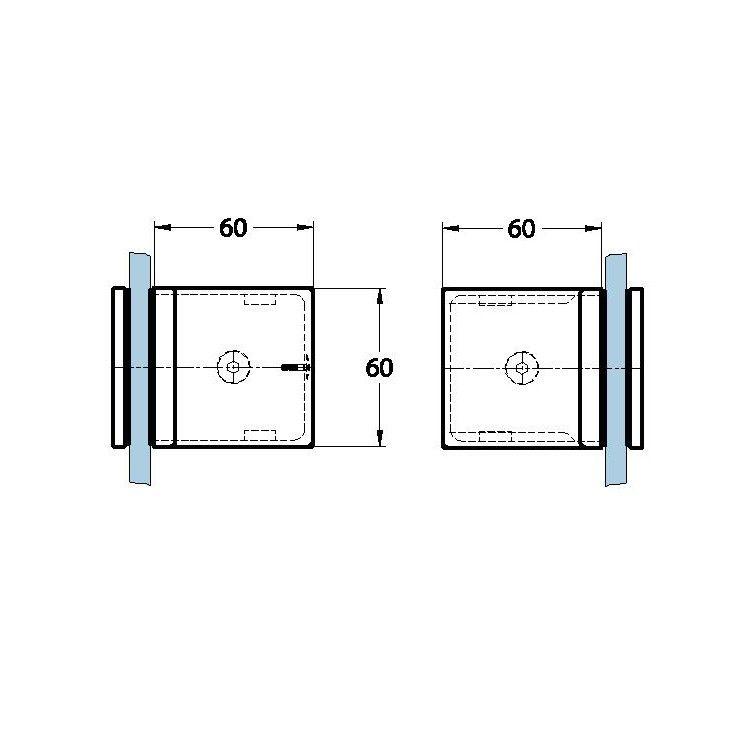 Raccord 90° verre/verre pour paroi de douche