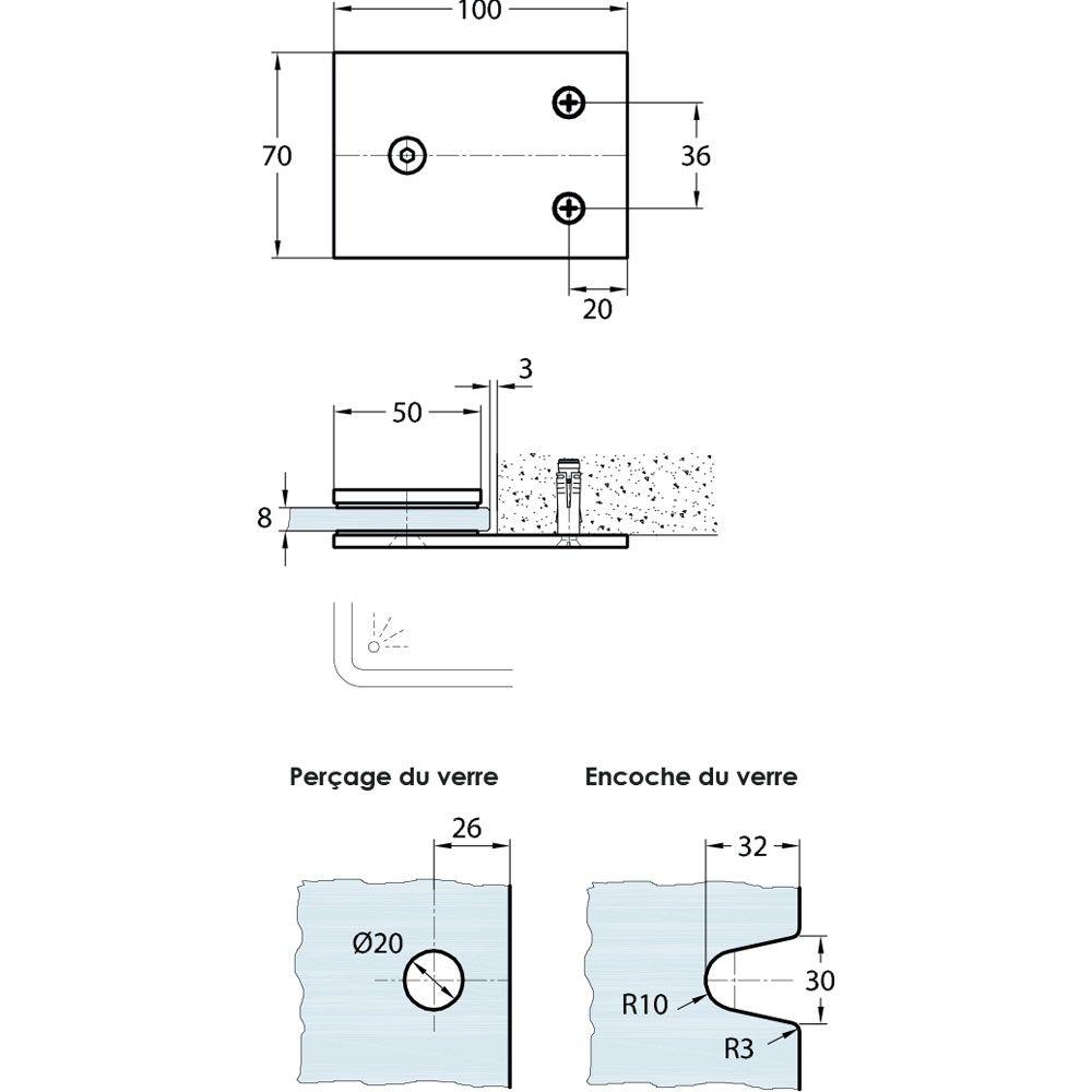 Raccord d\'angle fixe 180° verre/mur
