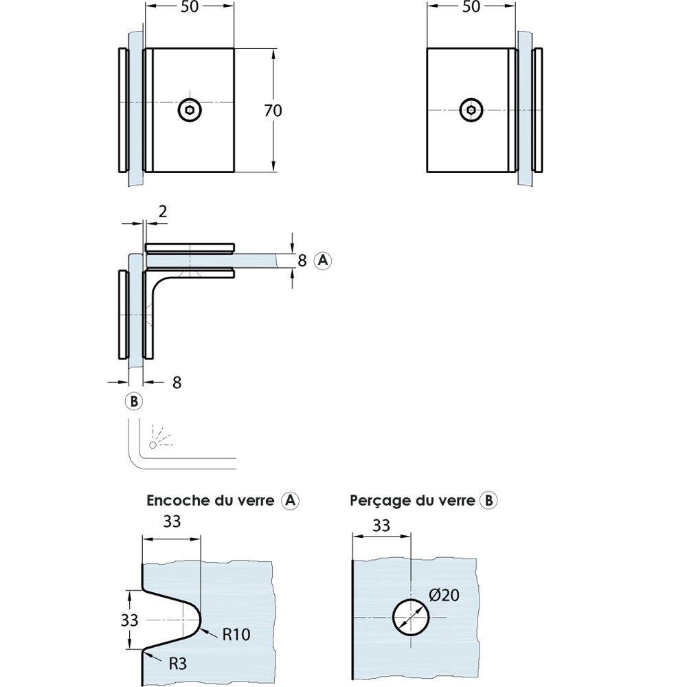 Raccord d\'angle fixe 90° verre/verre