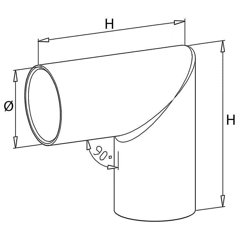 Raccord inox 90° angle vif pour main courante bois