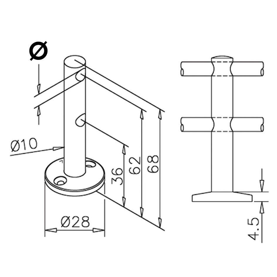 Support double traversant - aspect inox brossé