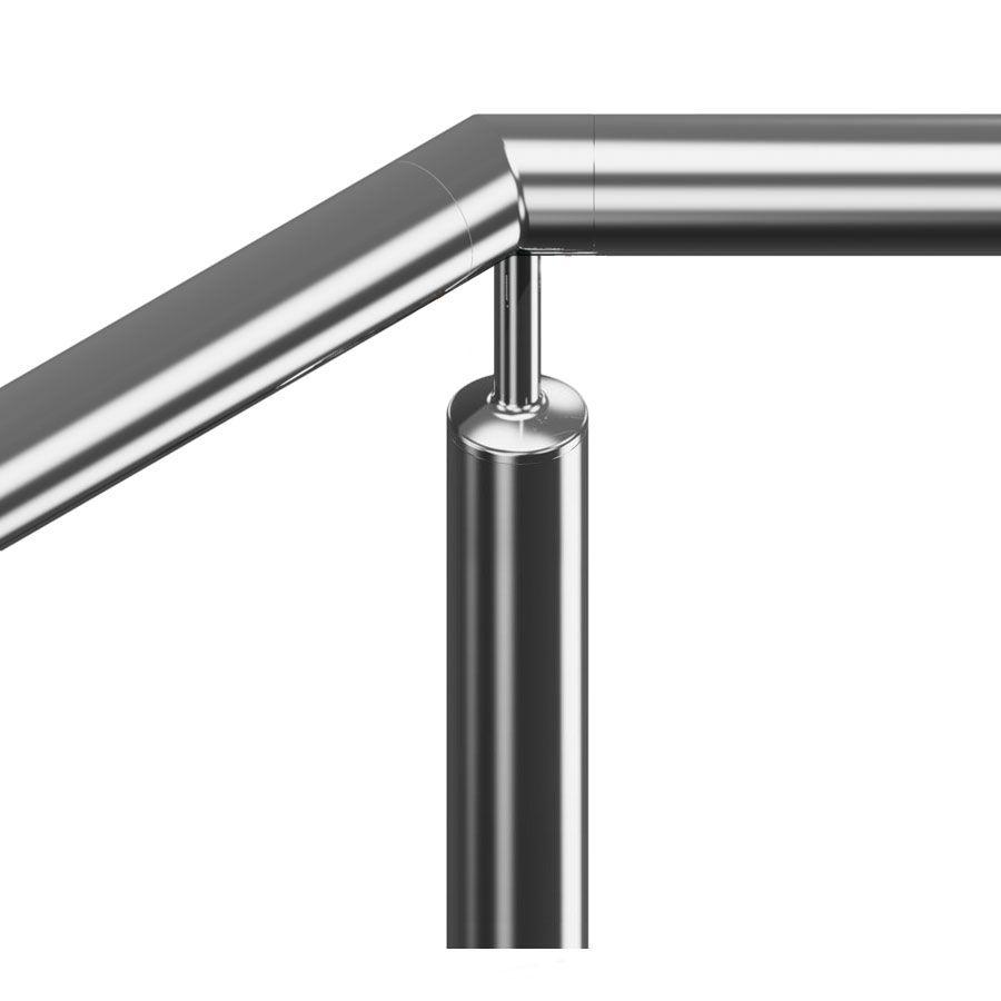 Support fixe à 45° main courante ronde poli miroir