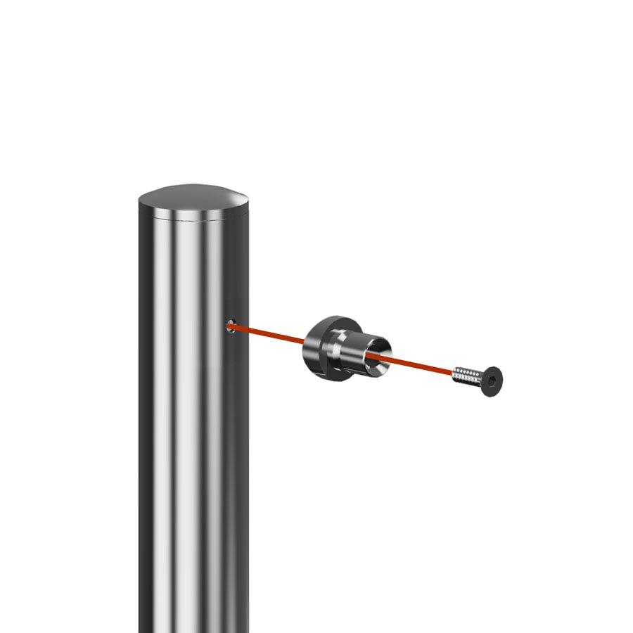 Support fixe main courante ronde poli miroir