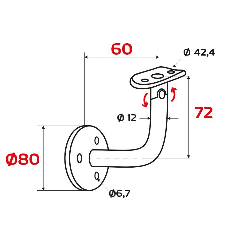 Support main courante murale orientable