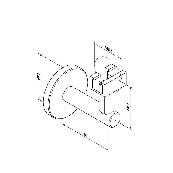 SUPPORT MURAL MAIN COURANTE LED Ø48.3 mm POUR ALIMENTATION ELECTRIQUE - INOX 316