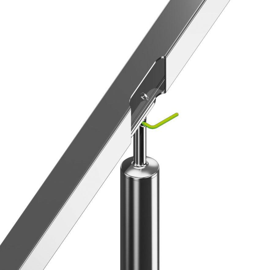 Support orientable main courante plate poli miroir
