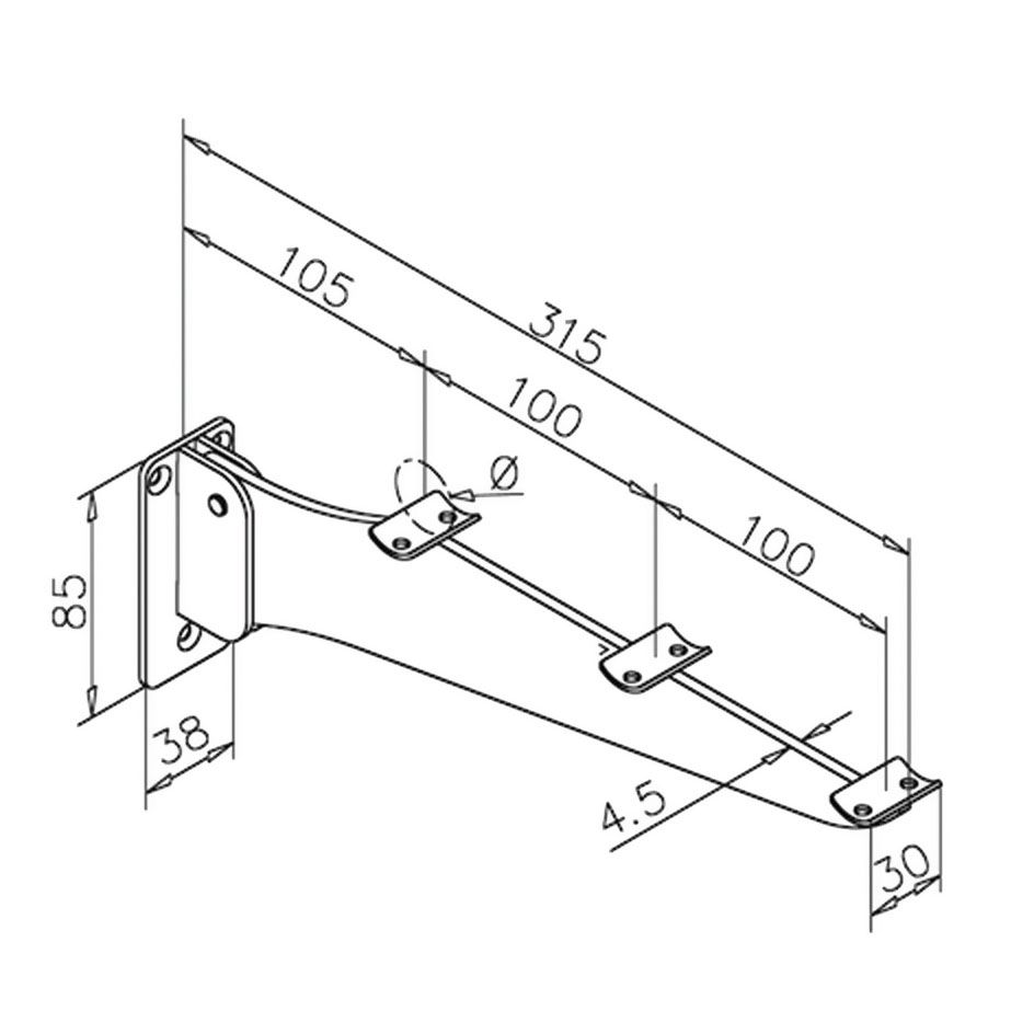 Support porte-plateaux rabattable - inox brossé