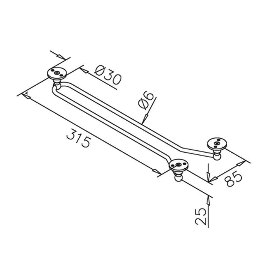 Support pour verre - Longueur 315 mm - inox poli brillant