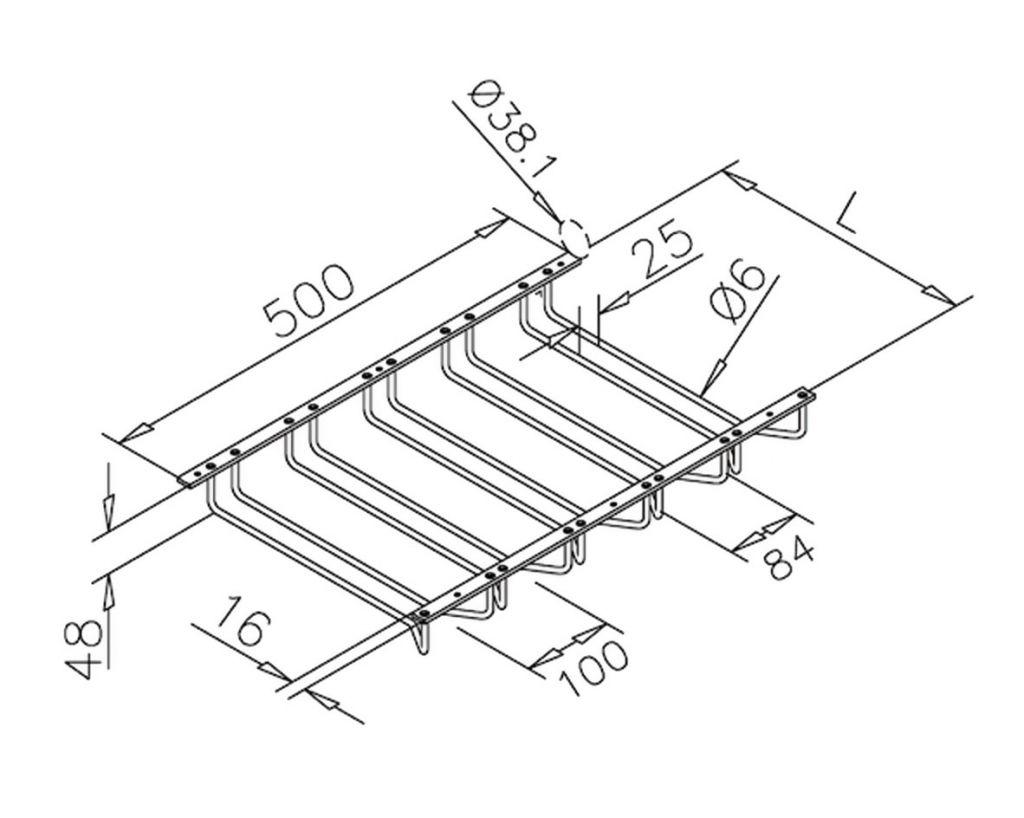 Support pour verre à pied - 5 branches - inox poli brillant