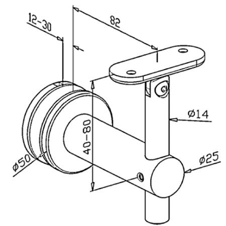 Support verre orientable main courante plate
