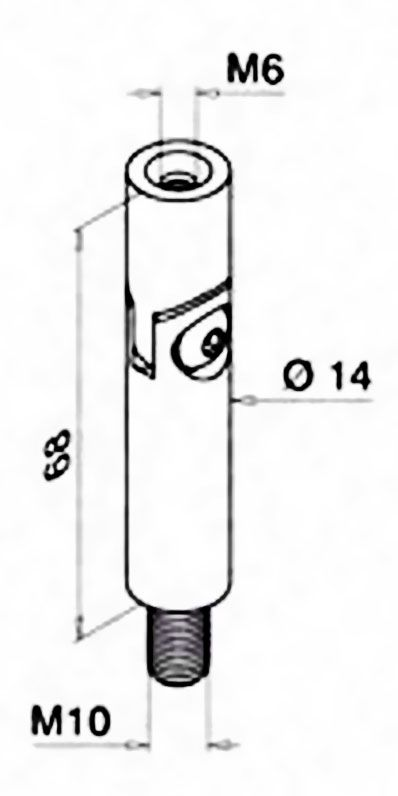 Tige orientable taraudée M6-M8